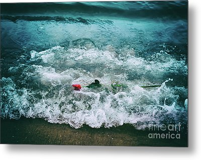 Waves Washing Away A Red Rose From The Beach. Vintage. Love Metal Print by Michal Bednarek