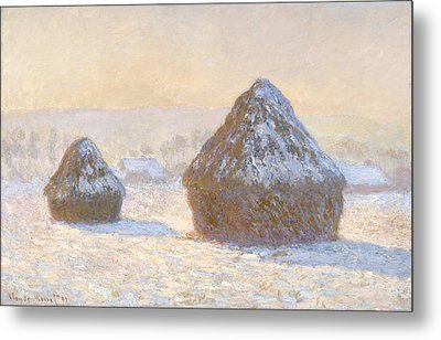 Wheatstacks Metal Print by Claude Monet