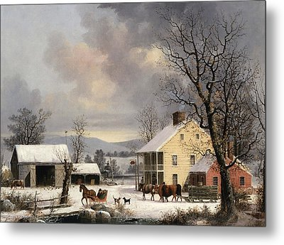 Winter In The Country Metal Print by George Henry Durrie