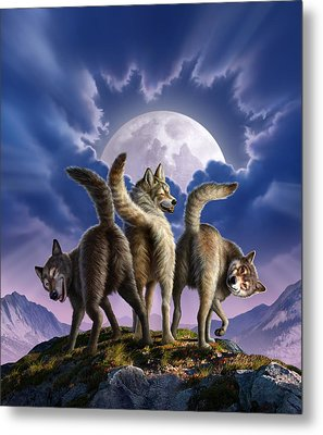 3 Wolves Mooning Metal Print