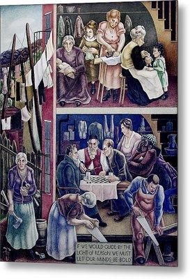 Wpa Mural. Society Freed Through Metal Print by Everett