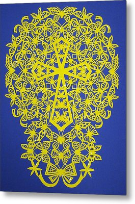 Yellow Butterfly-cross Metal Print by Tong Steinle