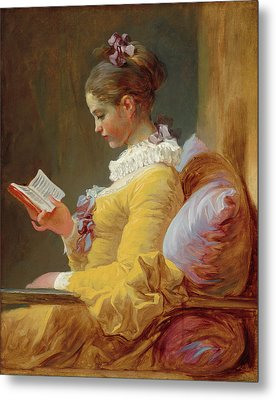 Young Girl Reading Metal Print by Jean-Honore Fragonard