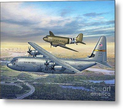 314th Aw Legacy - C-130j And C-47 Metal Print by Stu Shepherd