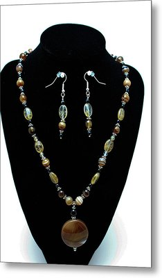 3509 Amber Striped Onyx Set Metal Print by Teresa Mucha