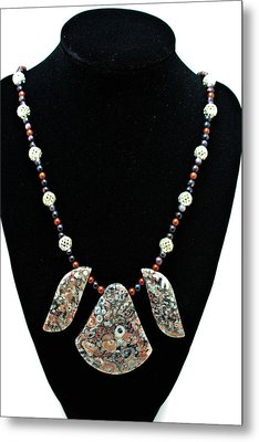 3521 Crinoid Fossil Jasper Necklace Metal Print