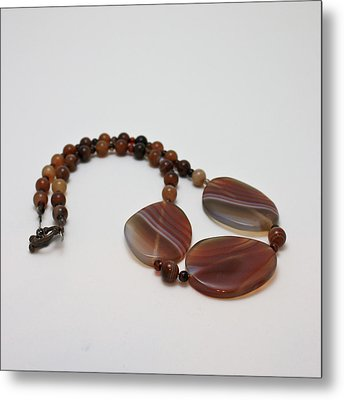 3543 Coffee Vein Agate Necklace Metal Print by Teresa Mucha