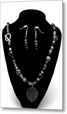 3545 Black Cracked Agate Necklace And Earring Set Metal Print by Teresa Mucha