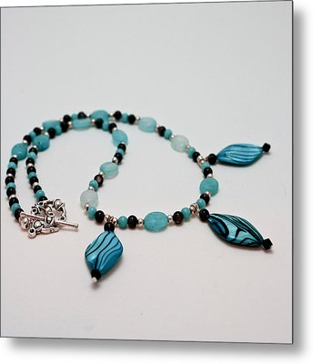 3564 Shell And Semi Precious Stone Necklace Metal Print by Teresa Mucha