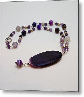 3573 Banded Agate Necklace  Metal Print by Teresa Mucha