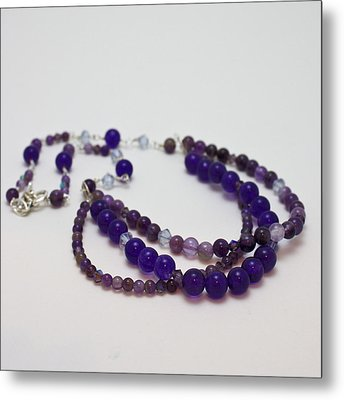 3580 Amethyst And Adventurine Necklace Metal Print by Teresa Mucha