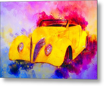 37 Ford Roadster Yellow Watercolour Metal Print