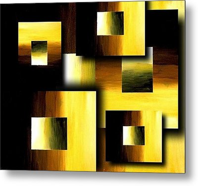 3d Golden Squares Metal Print by Teo Alfonso