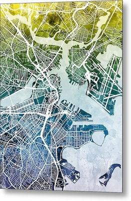 Boston Massachusetts Street Map Metal Print by Michael Tompsett
