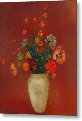 Metal Print featuring the painting Bouquet In A Chinese Vase by Odilon Redon
