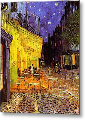 Cafe Terrace At Night Metal Print by Vincent Van Gogh
