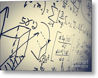 Complex Math Formulas On Whiteboard. Mathematics And Science With Economics Metal Print