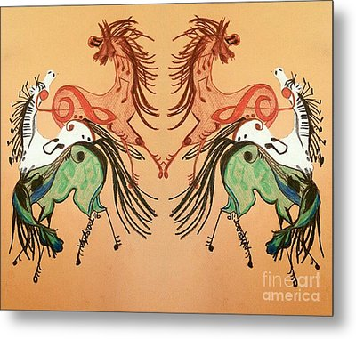 Dancing Musical Horses Metal Print