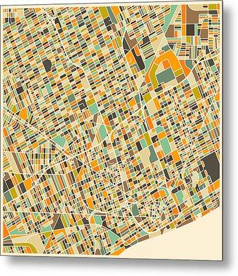 Detroit Map Metal Print by Jazzberry Blue