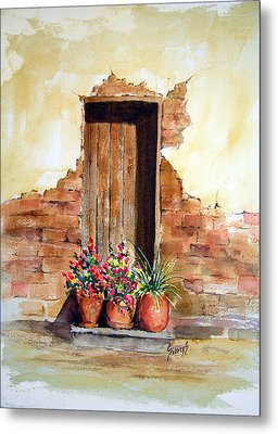 Door With Pots Metal Print by Sam Sidders