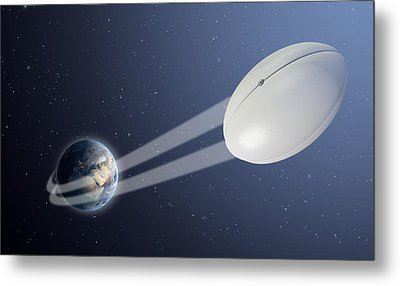 Earth With Ball Swoosh In Space Metal Print by Allan Swart