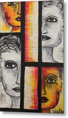 Metal Print featuring the painting 4 Faces by Sladjana Lazarevic