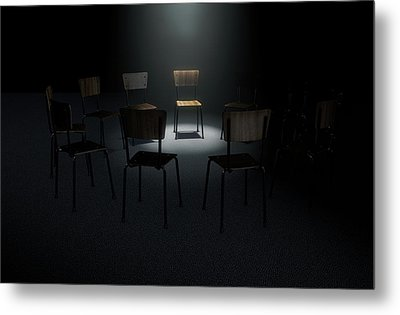 Group Therapy Chairs Metal Print by Allan Swart
