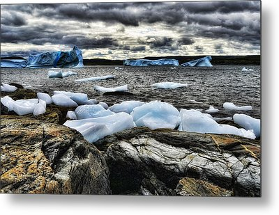 Icebergs At St. Anthony Metal Print by Steve Hurt
