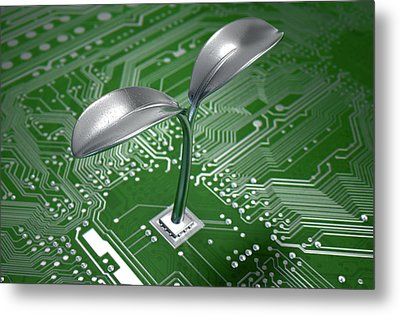 Macro Circuit Board With Futuristic Plant Metal Print