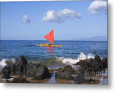 Maui Sailing Canoe Metal Print by Ron Dahlquist - Printscapes