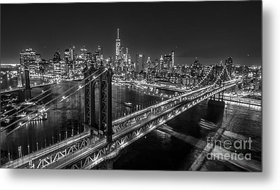 New York City, Manhattan Bridge At Night Metal Print by Petr Hejl