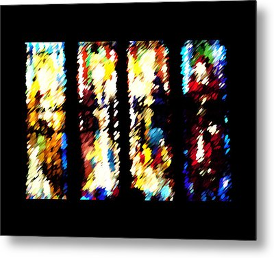 Metal Print featuring the digital art 4 Panels Of Seville Abstract by Donna Corless