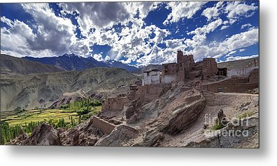 Panoramic View Of Ruins At Basgo Monastery Leh Ladakh Jammu And Kashmir India Metal Print by Rudra Narayan  Mitra