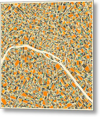 Paris Map Metal Print by Jazzberry Blue