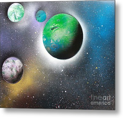 Metal Print featuring the painting 4 Planets by Greg Moores