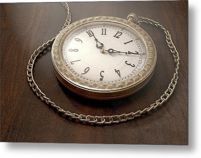 Pocket Watch On Chain Metal Print by Allan Swart