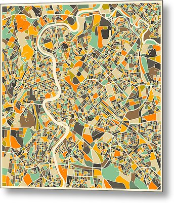 Rome Map Metal Print by Jazzberry Blue