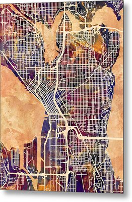 Seattle Washington Street Map Metal Print by Michael Tompsett