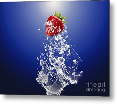 Strawberry Splash Metal Print