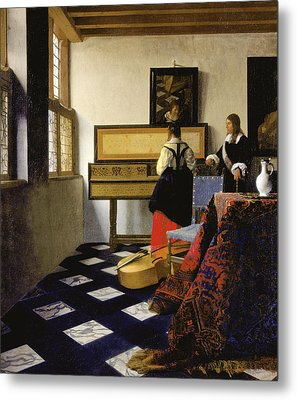 The Music Lesson Metal Print by Johannes Vermeer