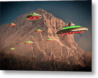 Ufo Invasion Force By Raphael Terra Metal Print by Raphael Terra