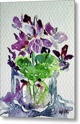 Metal Print featuring the painting Violet by Kovacs Anna Brigitta
