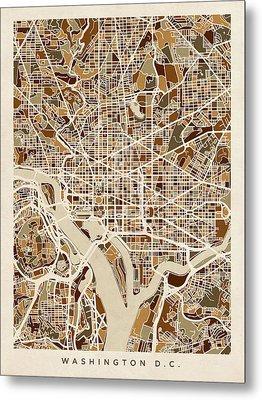 Washington Dc Street Map Metal Print by Michael Tompsett