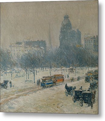 Winter In Union Square Metal Print by Childe Hassam