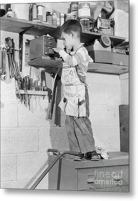 4 Year Old Boy In Tool Shed, C.1950s Metal Print by H. Armstrong Roberts/ClassicStock