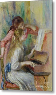 Young Girls At The Piano Metal Print