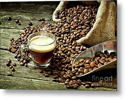 Metal Print featuring the photograph Espresso And Coffee Grain by Gualtiero Boffi