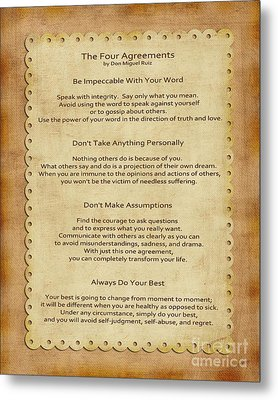 41- The Four Agreements Metal Print by Joseph Keane