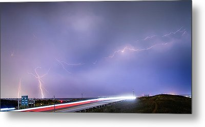 47 Street Lightning Storm Light Trails View Panorama 1 Metal Print by James BO  Insogna