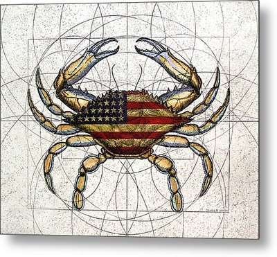 4th Of July Crab Metal Print by Charles Harden